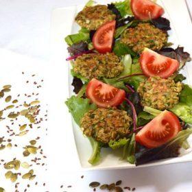 Galettes de légumes aux graines et flocons d'avoine