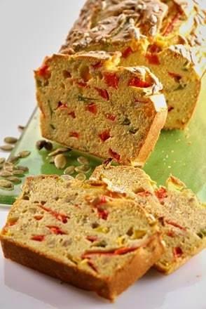 cake poivrons graines de tournesol farine de pois chiche Mon Fournil