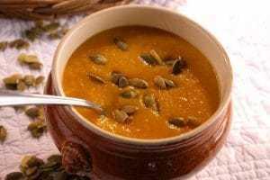soupe de potiron farine de châtaigne et graines de courge