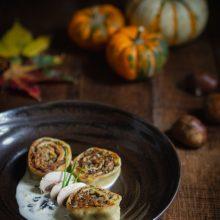 Fleischschnacka champignons et châtaignes, sauce crémeuse à la truffe