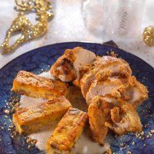 Suprême de volaille, panisses aux champignons, sauce poulette, crumble de souchet